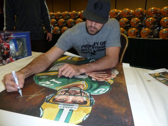 "aaron rodgers, ""in an instant"" 30x45 orig, auto rodgers"