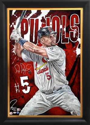 "albert pujols, ""the gatekeeper"" 24x36 auto aroc, l.e. 20"