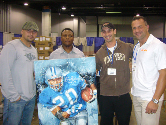 "barry sanders, ""catch me if you can"" 24x36 auto aroc, l.e. 20"