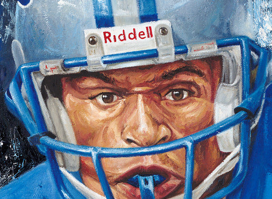 "barry sanders, ""catch me if you can"" 30x45 orig, auto sanders"