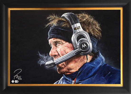 "bill belichick, ""check mate"" 24x36 aroc, l.e. 99"