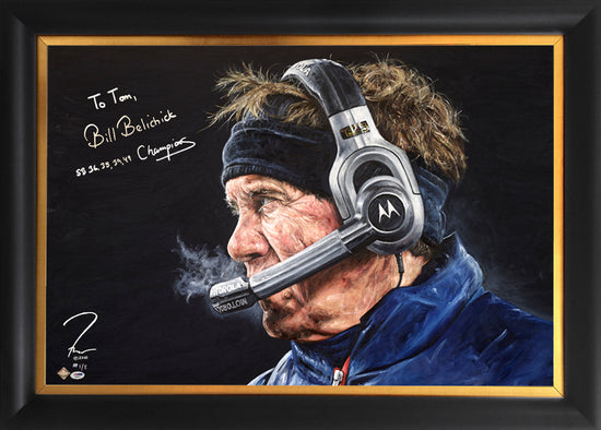 "bill belichick, ""check mate"" 24x36 auto aroc, artist proof, l.e. 10"