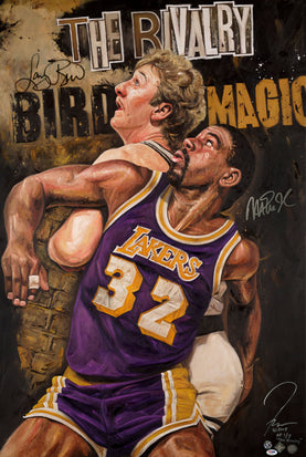 "bird vs magic, ""the rivalry"" 30x45 multi-auto aroc, artist proof, l.e. 7"
