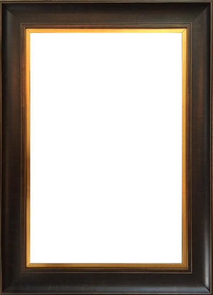 "38x84 ""bronze estate"": wooden frame, walnut brown w/ gold leaf inner liner"