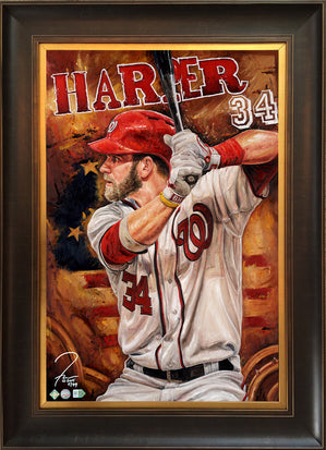 "bryce harper, ""national offense"" 24x36 aroc, l.e. 99"