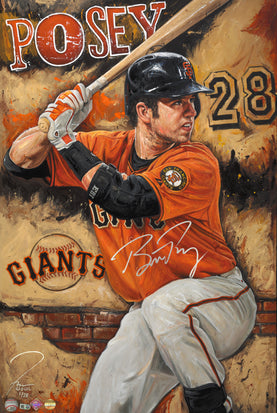 "buster posey, ""the rock"" 24x36 auto aroc, artist proof, l.e. 8"