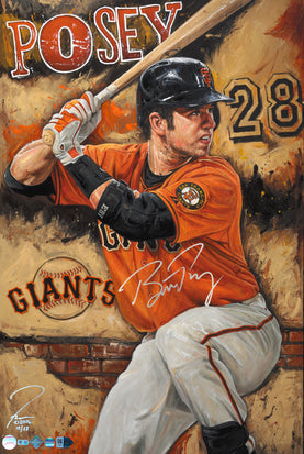 "buster posey, ""the rock"" 24x36 auto aroc, l.e. 28"