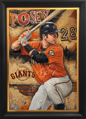 "buster posey, ""the rock"" 30x45 orig, auto posey"
