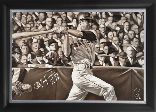 "carl yastrzemski, ""hitting machine"" 24x36 auto aroc w/ 'hof 89 & tc 67', artist proof, l.e. 5"