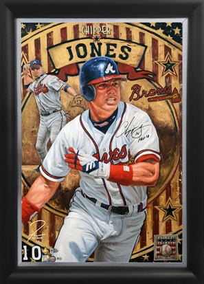 "chipper jones, ""made in the usa"" 24x36 auto aroc w/ 'hof 2018' ins, l.e. 30"