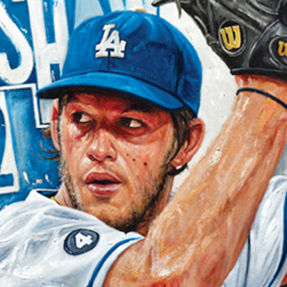 "clayton kershaw, ""hitless in hollywood"" 24x36 auto aroc, l.e. 22"