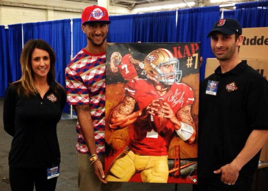 "colin kaepernick, ""new breed"" 24x36 auto aroc, l.e. 30"