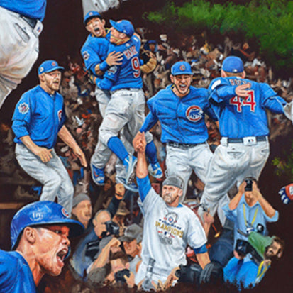 "chicago cubs 2016 ws champs, ""the wait is over"" 24x36 aroc, l.e. 108"