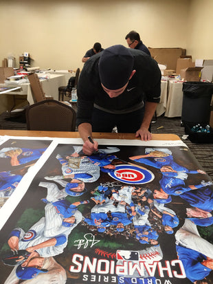 "chicago cubs 2016 ws champs, ""the wait is over"" 30x45 muli-auto aroc, l.e. 20"