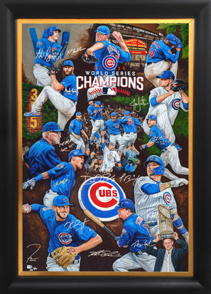 "chicago cubs 2016 ws, ""the wait is over"" 36x54 orig, multi-auto"