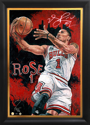 "derrick rose, ""point of attack"" 24x36 auto aroc, l.e. 21"
