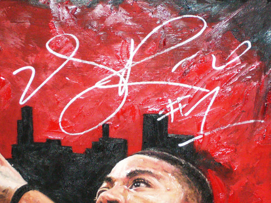 "derrick rose, ""point of attack"" 30x45 orig, auto rose"