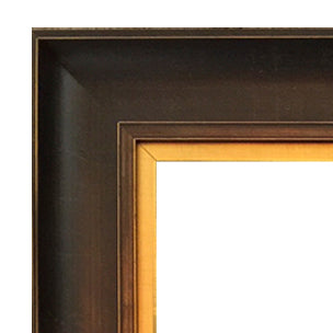 """Bronze Estate"": Wooden Frame, Walnut Brown w/ Gold Leaf Inner Liner: 24x36"