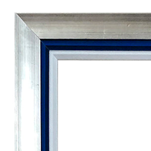 24x36 Silver Metallic Frame w/ Royal Blue & White Inner Liners