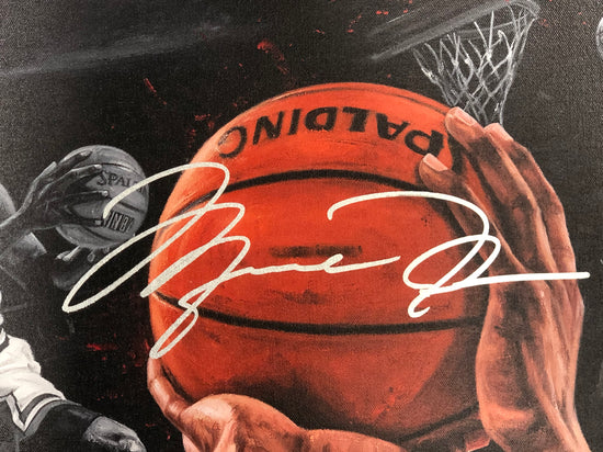 "michael jordan, ""into the record books"" 24x36 auto aroc, l.e. 50"
