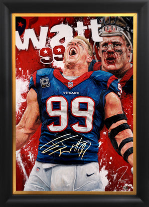 "jj watt, ""99 past the line"" 30x45 orig, auto watt"