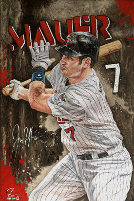 "joe mauer, ""hit parade"" 30x45 orig, auto mauer"