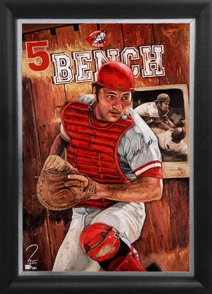 "johnny bench, ""guardian of cincity"" 30x45 orig, auto bench"
