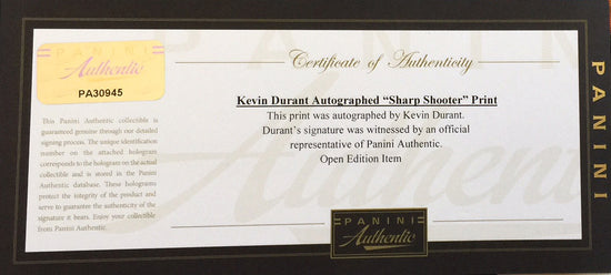 "kevin durant, ""sharp shooter"" 30x45 orig, auto durant"