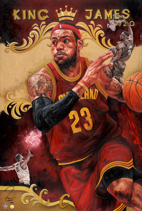 "lebron james, ""home sweet home"" 24x36 aroc, l.e. 99"