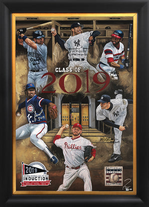 "mlb hof class of 2019, ""class of 2019"" 36x54 orig, multi-auto rivera, martinez, mussina, smith, baines"