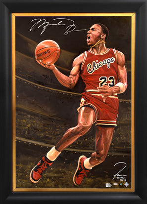 "michael jordan, ""flight 23"" 24x36 auto aroc, l.e. 23"