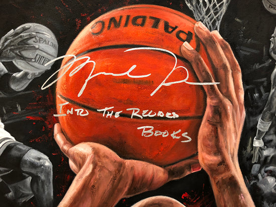 "michael jordan, ""into the record books"", 30x45 orig, auto jordan"