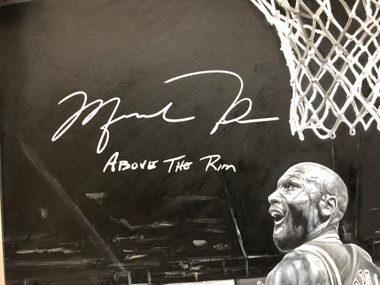 "michael jordan, ""above the rim"" 30x45 orig, auto jordan"