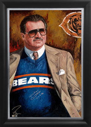 "mike ditka, ""takin' care of business"" 30x45 orig, auto ditka"