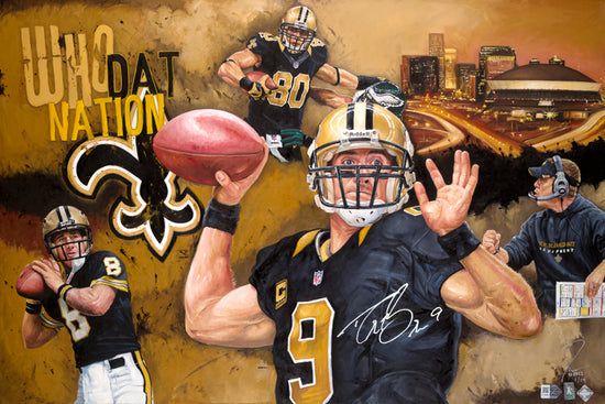 "new orleans saints, ""boys of the bayou"" 24x36 auto aroc w/ brees only, l.e. 24"