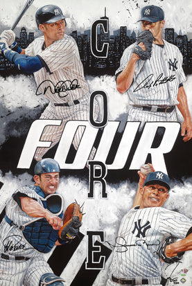 "ny yankees core 4, ""how we built this city"" 30x45 multi-auto aroc, jeter, rivera, posada, pettitte, l.e. 20"