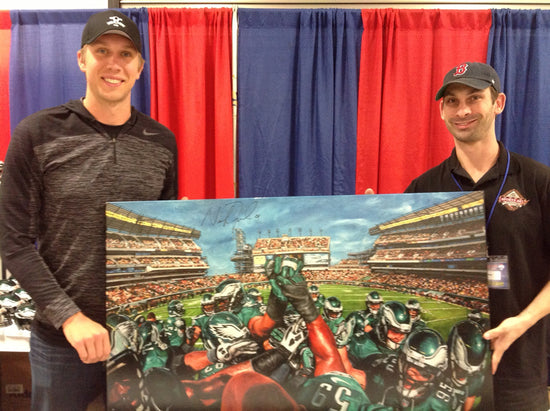 "eagles team pride 2014, ""together we soar"" 30x45 mulit-auto foles, mccoy, artist proof, l.e. 6"