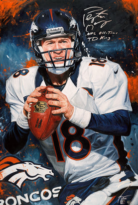 "peyton manning, ""the mad scientist"" 30x45 orig, auto manning"