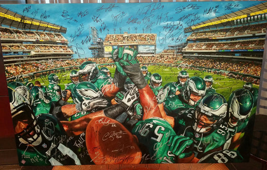 "eagles team pride 2014, ""together we soar"" 30x45 orig, mulit-auto by entire 2014 team"