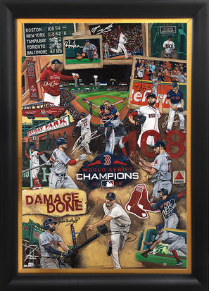"red sox 2018 ws champs, ""damage done"" 36x54 orig, multi-auto"