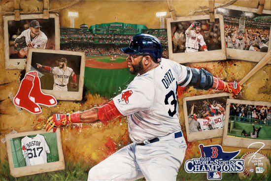 "boston red sox 2013 ws champs, ""the 617 as one"" 24x36 aroc, l.e. 99"