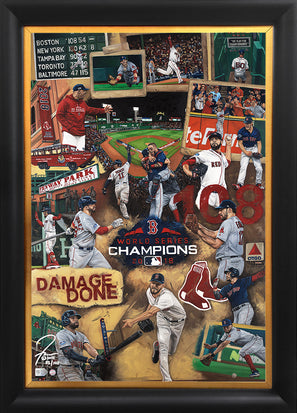 "red sox 2018 ws champs, ""damage done"" 24x36 aroc, l.e. 108 (1-99)"