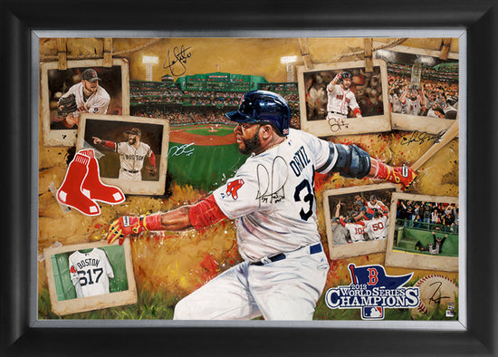 "red sox 2013 ws champs, ""the 617 as one"" 36x54 orig, multi-auto"