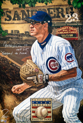 "ryne sandberg, ""second to none"" 30x45 orig, auto sandberg"