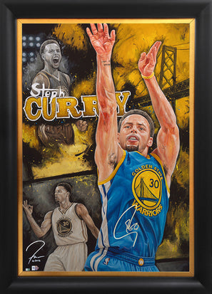 "steph curry, ""rain man"" 30x45 orig, auto curry"