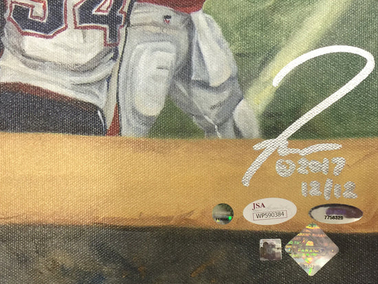 "ne patriots sb 51 champs, ""did that just happen"" 30x45 multi-auto aroc, brady, edelman, hightower, white, l.e. 12"
