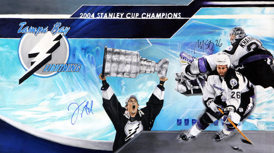 "tb lightning 2004 stanley cup, ""2004 lightning champs"" 12x36 multi-auto lecavier, st.louis, l.e. 10"
