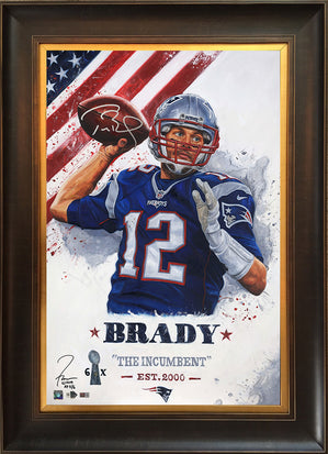"tom brady, ""the incumbent"" 24x36 auto aroc, artist proof, l.e. 6"