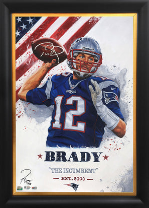 "tom brady, ""the incumbent"" 24x36 auto aroc, l.e. 45"