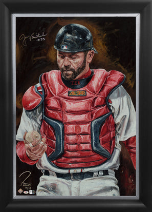 "jason varitek, ""unfinished business"" 24x36 auto aroc, auto varitek, l.e. 33"